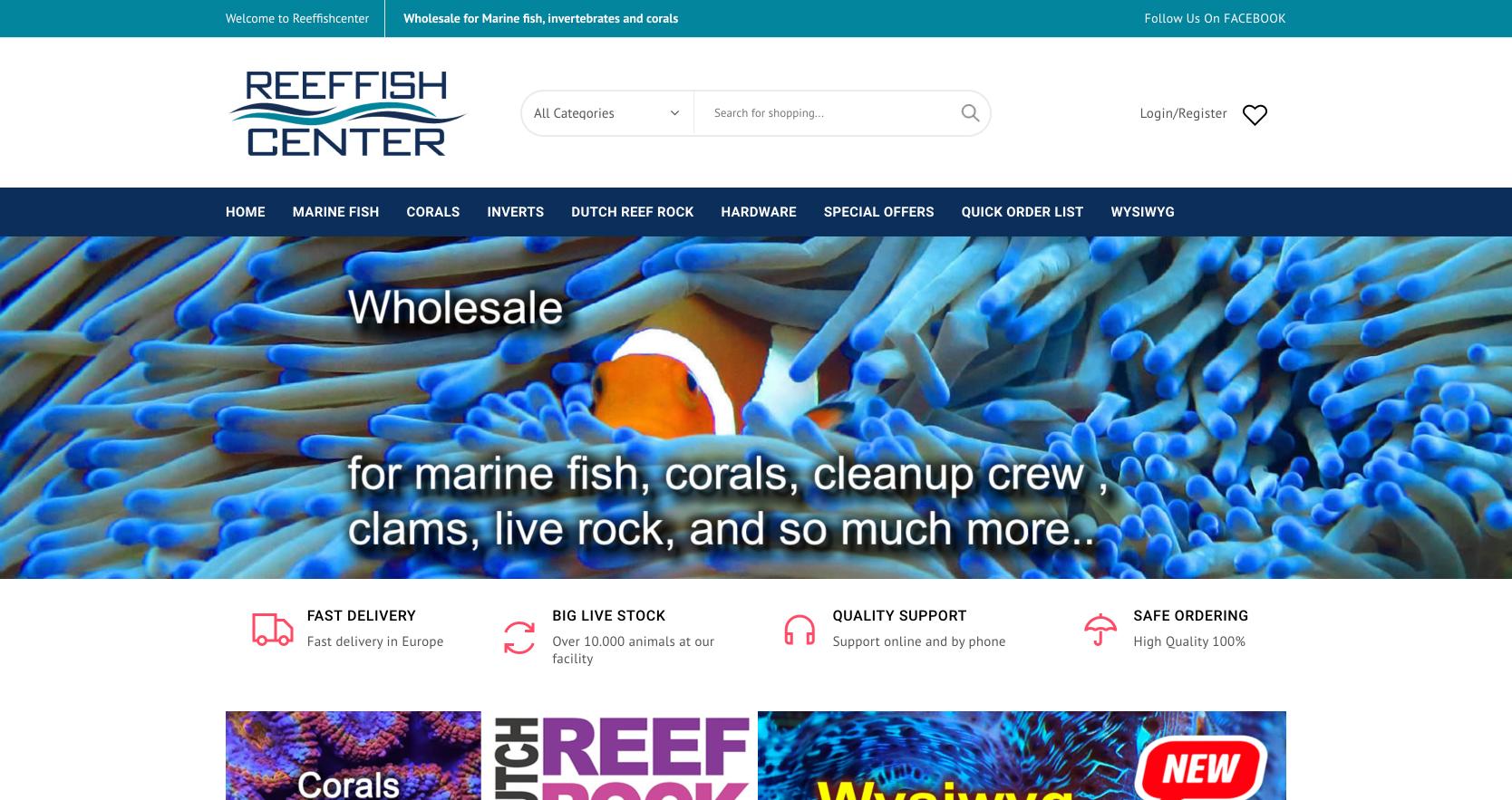 reeffishcenter wholesale marinelife webshop
